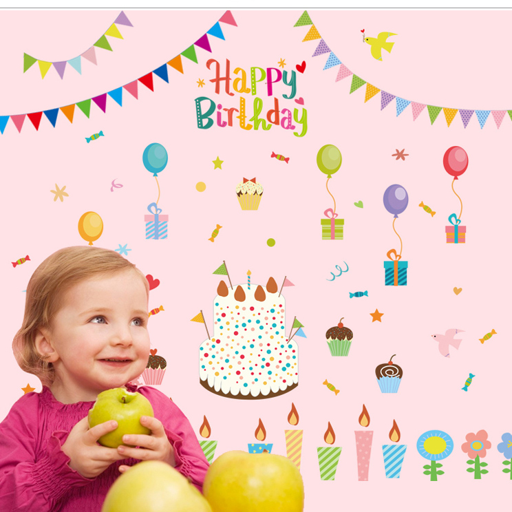 New DIY Cake Happy Birthday Party Balloon Wallpaper Wall Sticker Shop Show Window Decoration Stickers Decor In From Home