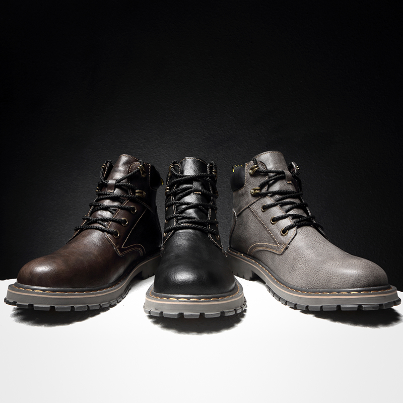 Vintage Men Boots Lace Up Winter Leather Martin Boots Men Waterproof Work Tooling Safety Ankle Boots Casual Shoes Botas Sorrynam in Basic Boots from Shoes