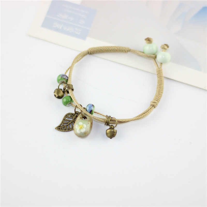 Fashion Bracelet Ethnic Style Hand Knit Flower Ceramic Software Bracelet Summer Feminine Jewelry Valentine's Day Gift