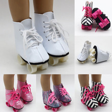 Roller Skate Shoes for 18 Inch American Doll White Pink Rainbow Black-and-white Roller Skates Shoes 43cm Girl Baby Doll jackson vibe extravaganza roller skate pink size 4