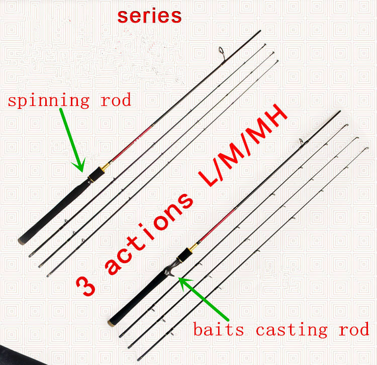 1.8m/2.1m/2.4m spinning rod baits casting rod f 3 pieces top parts 3 actions (L/M/MH) fishing rod superhard lure