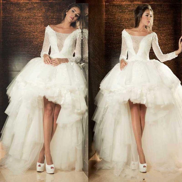High Low Wedding Dresses Lace Applique Long Sleeve Tiered Tulle See Through White Ivory Gown