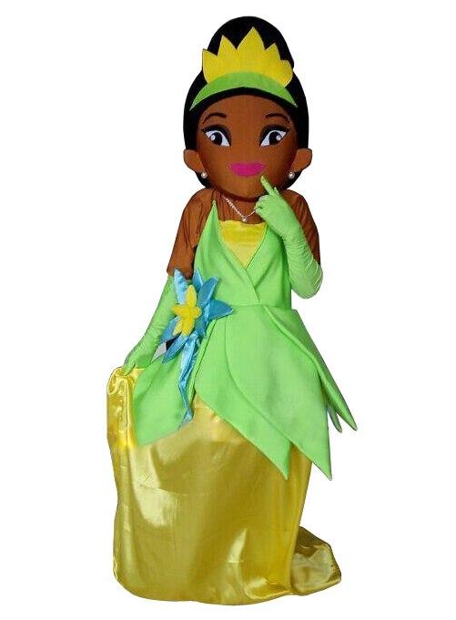 Карнавальный костюм принцессы нарядное платье коричневый Уход за кожей лица Тиана принцесса Маскоты костюм для Рождество шоу на сцене
