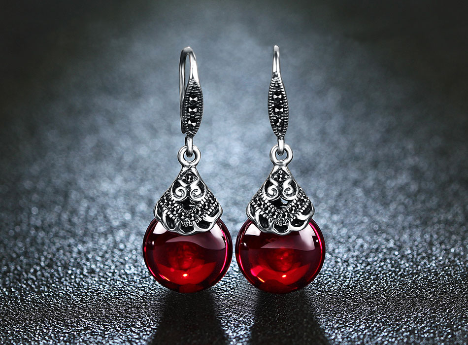 HTB1F3ZDfdLO8KJjSZFxq6yGEVXas - JIASHUNTAI Retro 100% 925 Sterling Silver Round Garnet Drop Earrings For Women Natural Red Gemstone Ruby Fine Jewelry Best Gifts