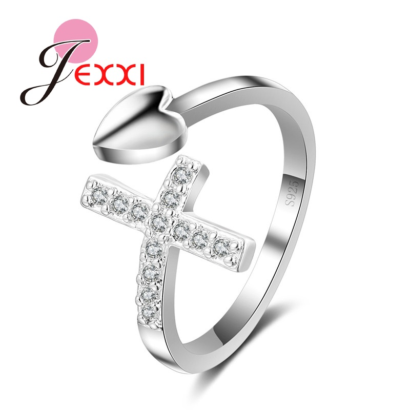 JEXXI Chic Fashion 925 Stamp Sterling Silver Women Party Rings Zircon Cross Heart Open Adjustable Finger Jewelry Free Shipping