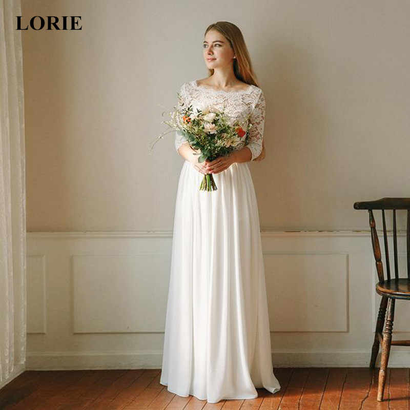 LORIE 2019 Chiffon Lace Appliques Two Pieces Wedding dress Illusion Long Sleeve vestido de casamento White Ivory bride dress New