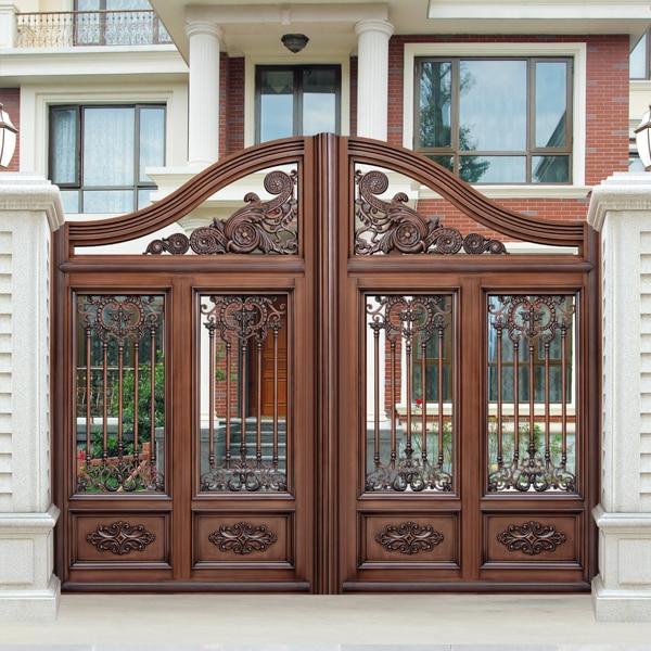 Luxury light brown color villa outside gate security for Villa entrance door designs