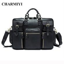 CHARMIYI Genuine Leather Men Messenger Bag Luxury Briefcase Laptop Handbags Business Male Travel Bag Men Crossbody Shoulder Bags