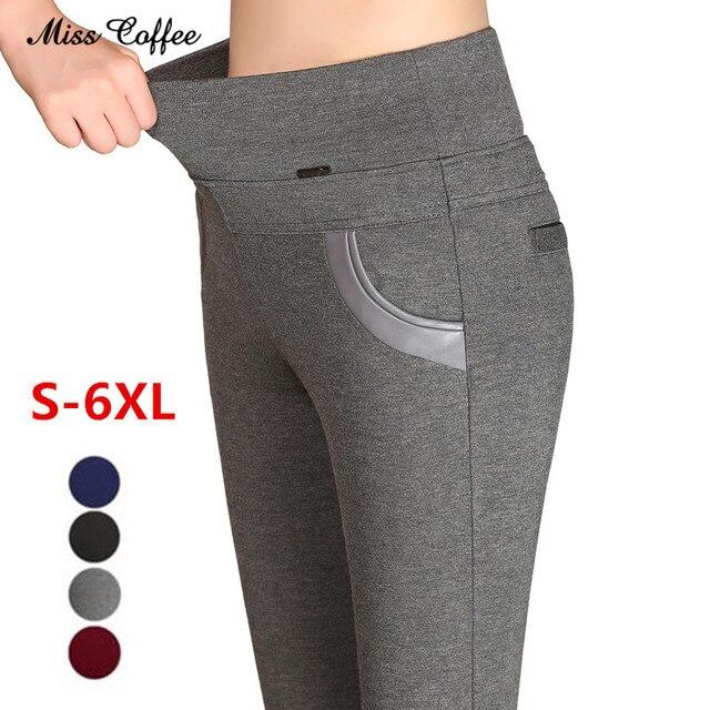 New 2018 Plus Size Women's Pencil Pants Capris Leggings Female Stretch High Waist Cotton Casual Pants Women Office Sexy Pants