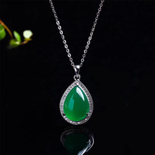gemstone jewelry factory wholesale white 925 sterling silver natural green quartz pendant necklace natural green diopside stone pendant 925 sterling silver natural gemstone pendant necklace trendy chinese knot women jewelry