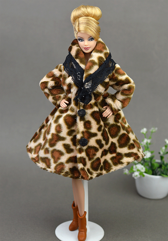 Fashion Leopard Winter Fur Coat For Barbie Dolls Klær Lang Kjole Vestido Frakk For 1/6 BJD Doll House Doll Tilbehør