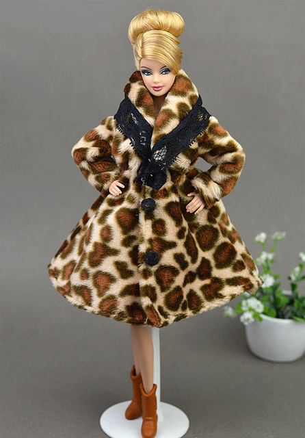 Fashion Leopard Winter Fur Coat For Barbie Dolls Clothes Long Dress Vestido Coat For 1/6 BJD Doll House Doll Accessories