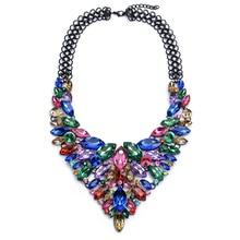 Gros Collier Femme 2016 ZA Maxi Necklaces Pendants Bijoux Ras De Cou Bijou Gem Crystal Flower Choker Jewelry Ketting Friends