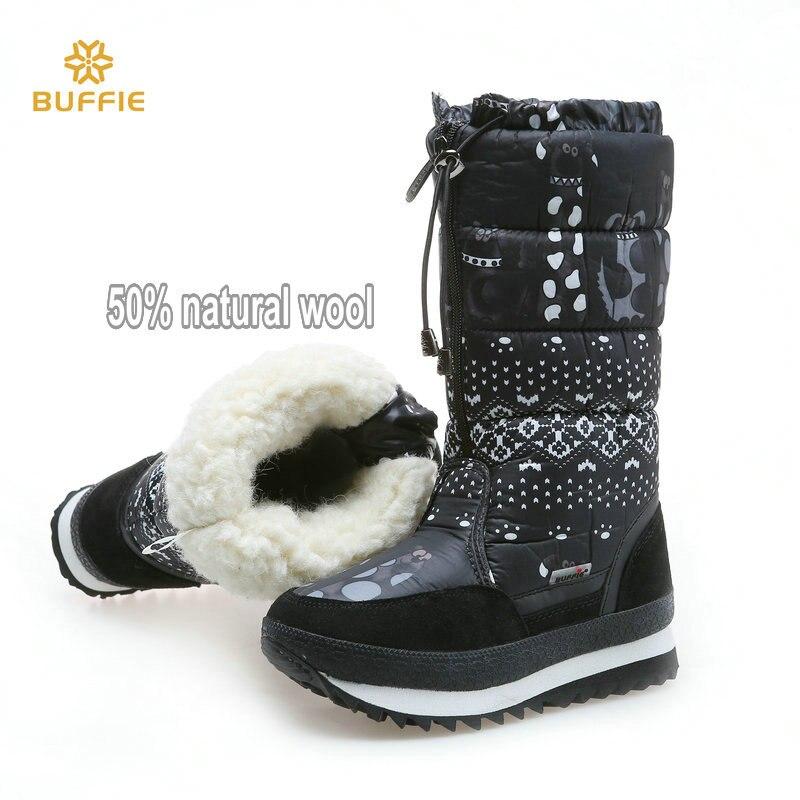 Günstige Kaufen Natürliche Wolle Winter Stiefel Mixed Pelz