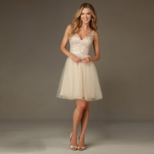 2016 New Arrival Elegant vestido de dama de honra V-Neck Lace Appliques Sashes Tulle A-Line Short Bridesmaid Dresses