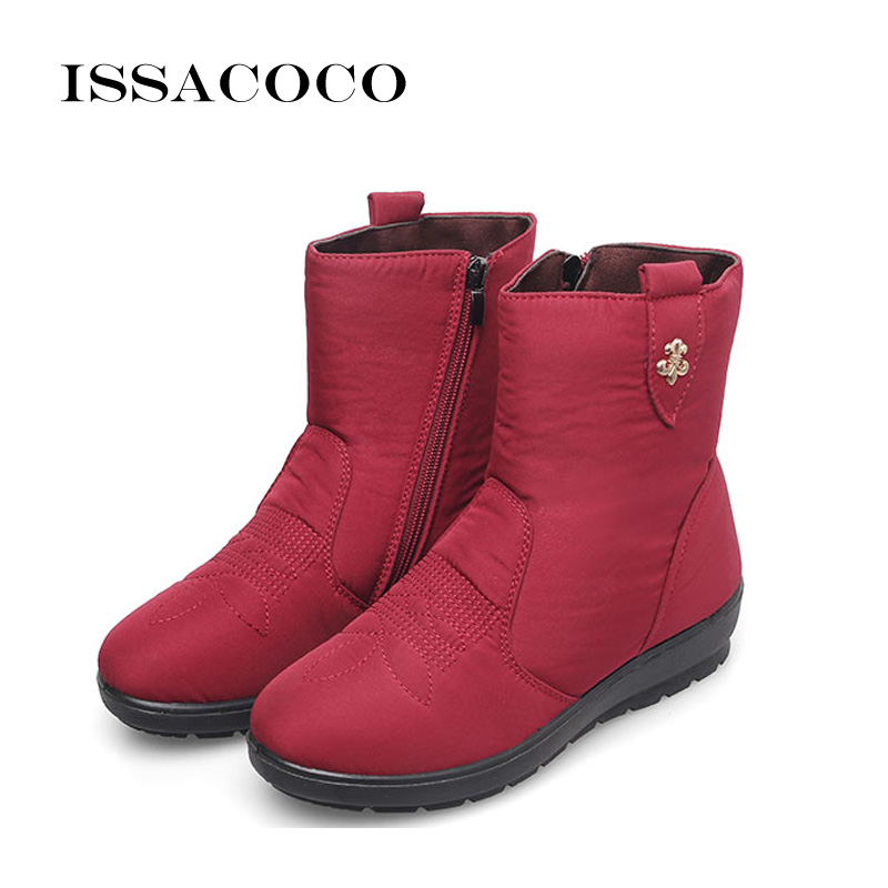 ISSACOCO 2018 Snow Boots Women Boots Female Waterproof Ladies Snow Boots Girls Winter Shoes Woman Plush Insole Botas Mujer 39-42 women winter over the knee high boots ladies platform fringe snow boots waterproof down thick plush female shoes botas