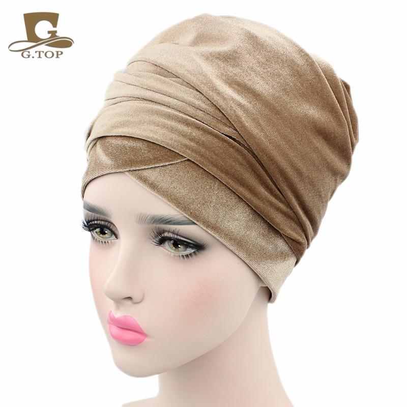 Nueva moda mujer terciopelo turbante diadema abrigo Hijab extra largo - Accesorios para la ropa - foto 3