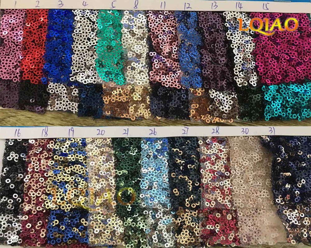20 Yard Gradient Color Dark Green Light Gold Sequin Fabric Stretch ...