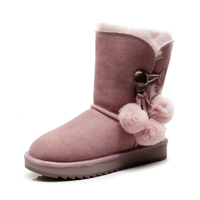 37e60dfcee645 Plana Botas Mujeres 2018 Pelo Las Tres Negro Bola Botón Ash De Oveja goat  taro Nieve Genuino Algodón Zapatos Piel ...