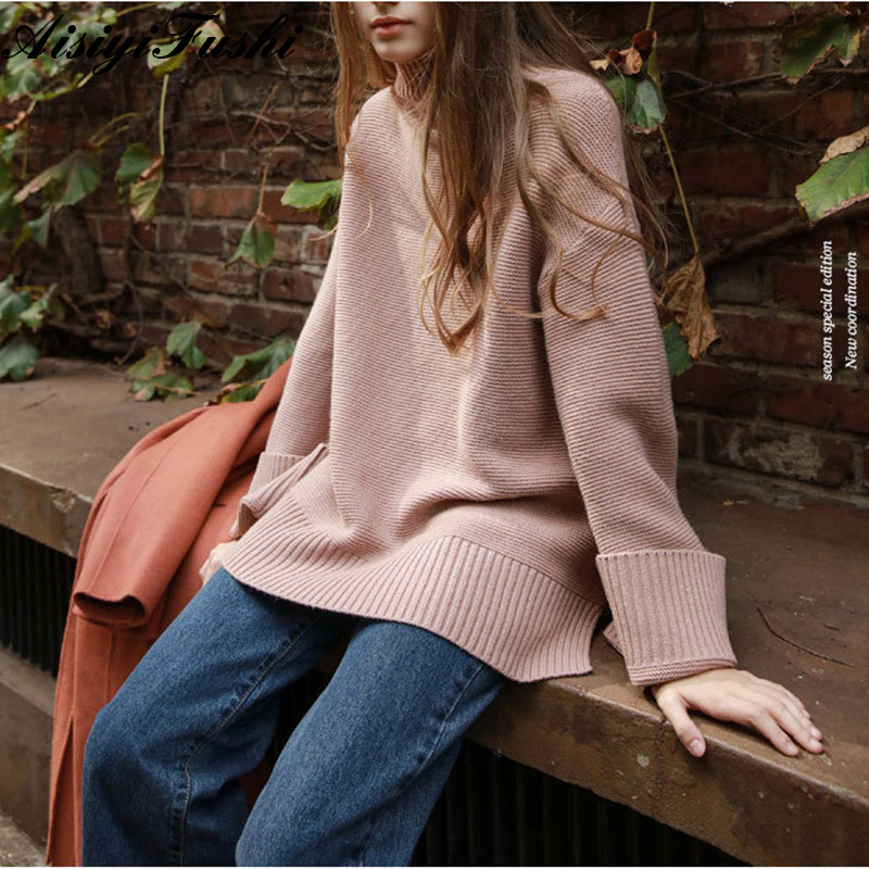 2f4d2d264ed Women s Turtleneck Sweater For Women Harajuku Knitted Oversized Sweaters  Female Womens Winter Jumper Warm Vintage Baggy Sweater -in Pullovers from  Women s ...