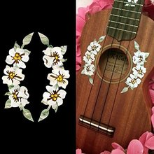 Inlay Stickers Decals for Ukulele – Hibiscus Flowers Rosette Purfle