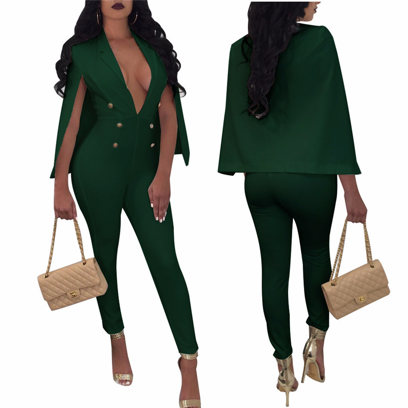 New hot European and American fashion personality noble casual Slim solid color sexy belt cloak ladies jumpsuit in Jumpsuits from Women 39 s Clothing