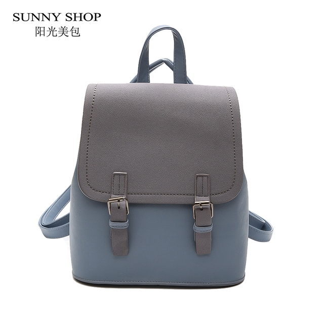 ab936b21ce SUNNY SHOP Korean Notebook Bbackpack Women Designer Small PU Leather  Backpack Casual Rucksack School Bags For Teenage Girls Blue