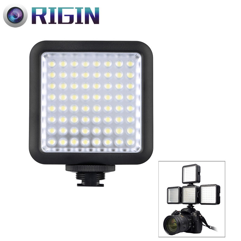Godox led64 LED video Light 64 led luces lámpara Iluminación fotográfica 5500 ~ 6500 K para DSLR Cámara videocámara mini dvr