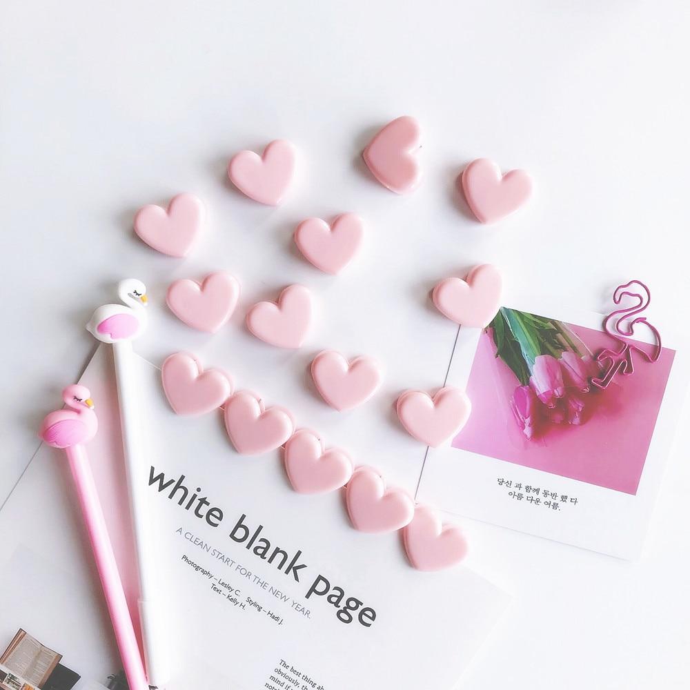 100 Pcs/Lot Pink Heart Plastic Clip Cute Love Paper Memo Clips Note Foto Holder Scrapbooking Stationery School Supplies A6967