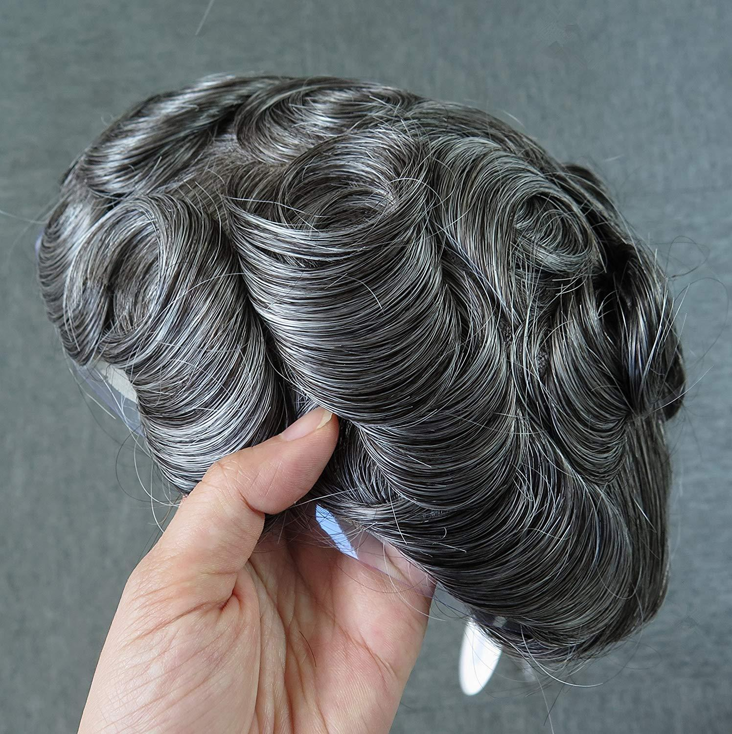 100% Human Hair Mens Fine Swiss Lace Toupee Hair Piece Hair Replacement System Human Grey #1B65