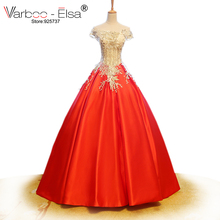 VARBOO_ELSA Satin Ball Gown Bridal Gown Wedding Dress