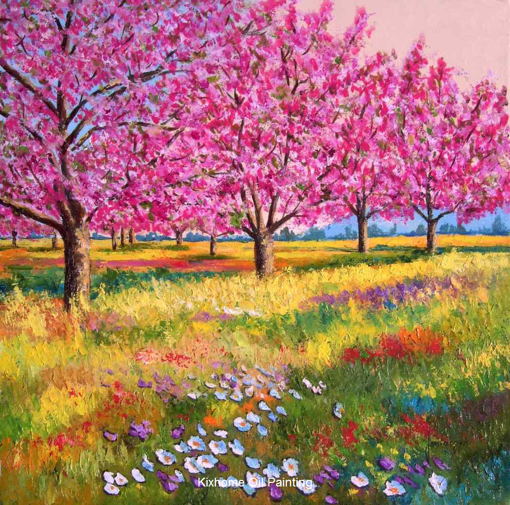 Peach trees in spring by Jean Marc oil painting replica