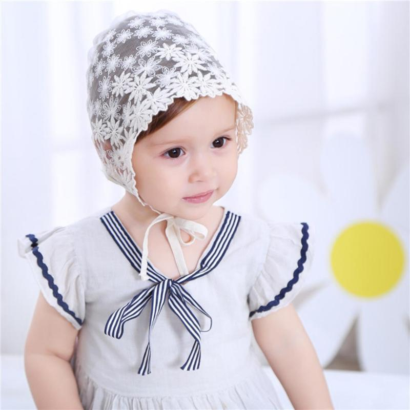 Baby Cap Flower Embroidery Princess Lace Hollow Baby Girls Hat Lace-up Beanie Cotton Bonnet Kids Flower Beanie Lace Floral Cap