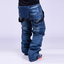 free shipping  brand new old-style suspenders thickened Denim pants for men Snowboard windproof pants breathable water skiing
