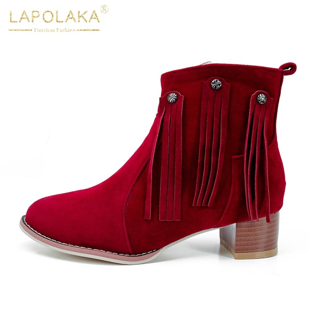 60818ed209f Zapatos 34 Flecos Otoño Mujeres rojo Negro De Zip Up Tacones Primavera  Lapolaka Nuevo Mujer verde Tamaño Botas ...