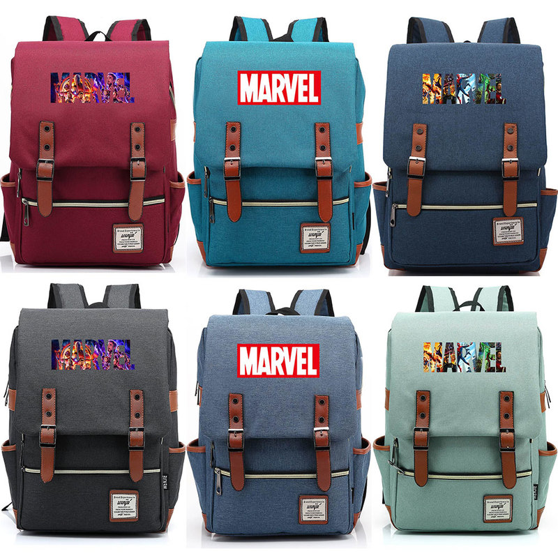 Hot Multicolor Letter Marvel The Avengers Endgame Boy Girl Student Blet School bag Teenagers Canvas Women Bagpack Men Backpack9 image