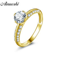 AINUOSHI Luxury 14K Solid White/Yellow Gold Round Ring Double Sides Pave Setting SONA Diamond Women Wedding Band Engagement Ring