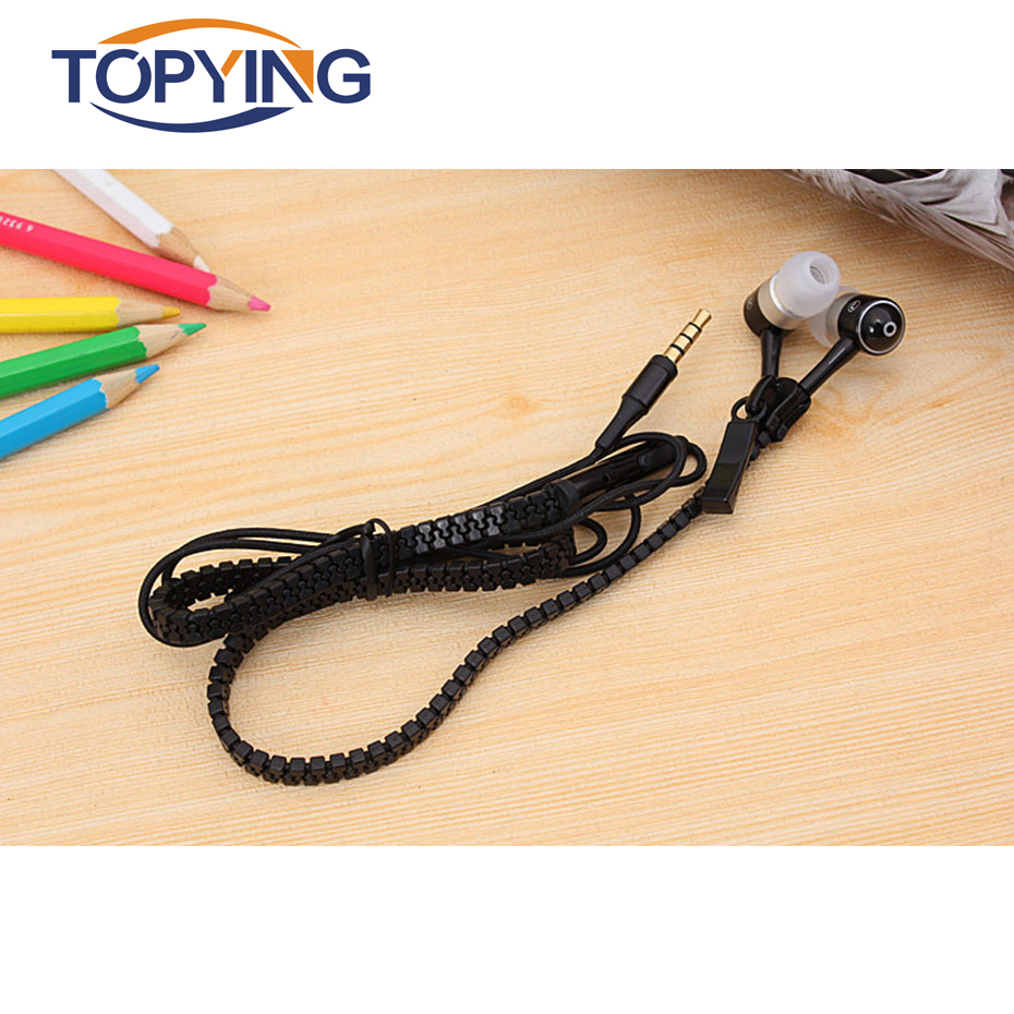 TOPYING Wired Earphone For Mobile Phone Zipper 3.5mm Noise Cancellation Earphones For Sport Mp3 Mp4 In-Ear With Microphone newest plextone x33m in ear earphones with microphone brand hot super bass wired portable headset for mobile phone ipad mp3 mp4