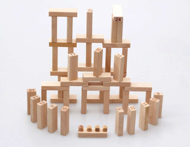 54pcs children wooden tower wiss toys kids wood number building