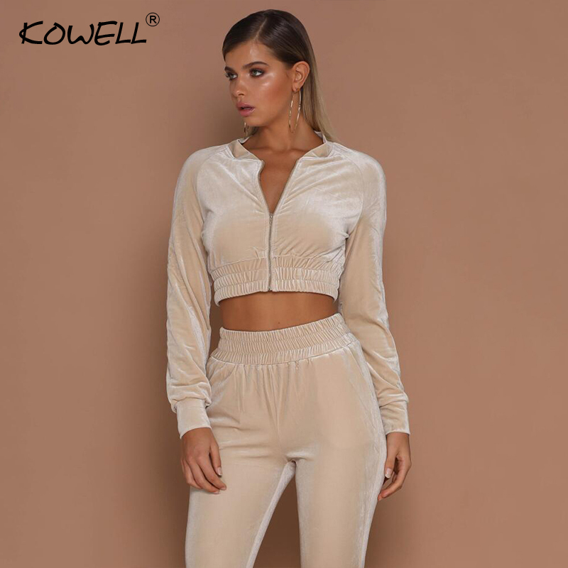 Kowell Autumn Two Pieces Bodycon Jumpsuits For Women Overalls Long Sleeve Velvet Zipper Bodysuit Cropped Top Casual Full Pants