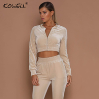 Hot Sale Autumn Two Pieces Bodycon Jumpsuits For Women Overalls Long Sleeve Velvet Zipper Bodysuit Cropped Top Casual Full Pants