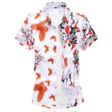 Hawaiian Mens Shirts Floral Dress Short-sleeved Blouse Clothing Beach style Summer