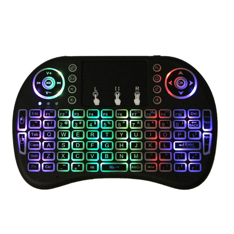 RGB Rechargeable LED Backlits 2.4GHz Wireless i8 Keyboard Touchpad Fly Air Mouse with Touchpad Remote Control Android TV Box компьютерная клавиатура wfirst air qwerty touchpad android tv box i8