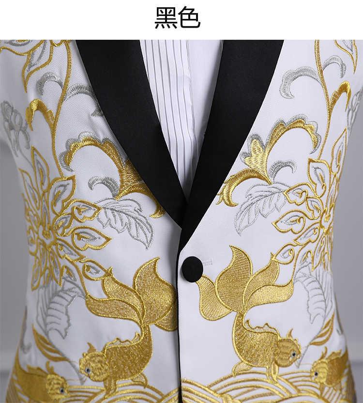ホット 2018 男性ショールラペル白黒赤刺繍ウエディングドレススーツ歌手の衣装オムメンズスーツとパンツ