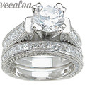 Vecalon Fashion Engagement Wedding band Ring Set for Women Round cut 2ct Cz Diamond 14KT White Gold Filled Party Finger ring