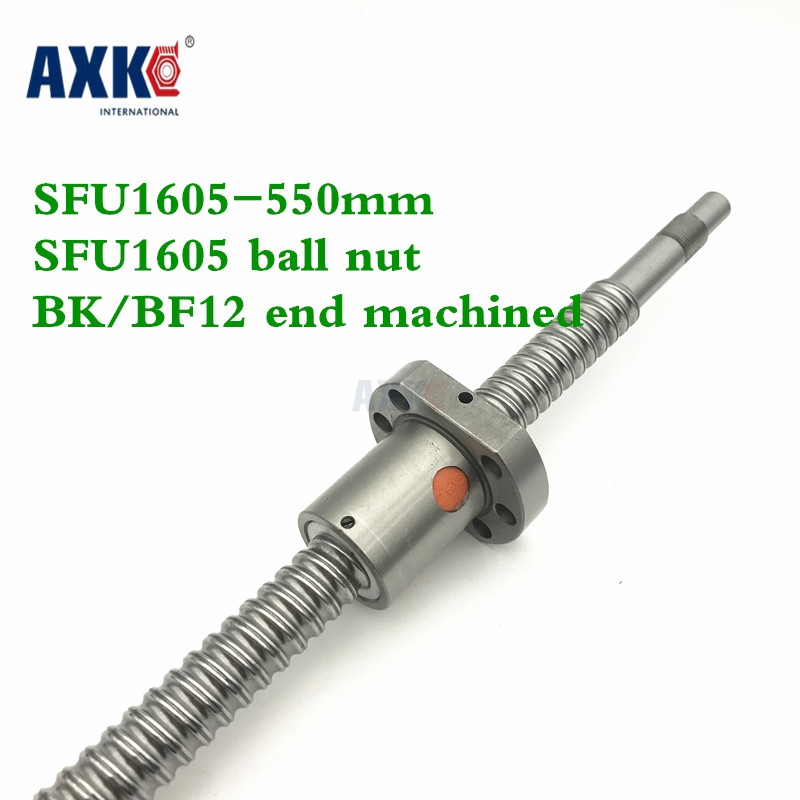 16mm 1605 Ball Screw Rolled C7 ballscrew SFU1605  550mm with one 1605 flange single ball nut for CNC parts tbi 2510l c3 left rotation 1450mm customized grinding ballscrew dfu2510 ball screw with one double ball nut diy cnc machine