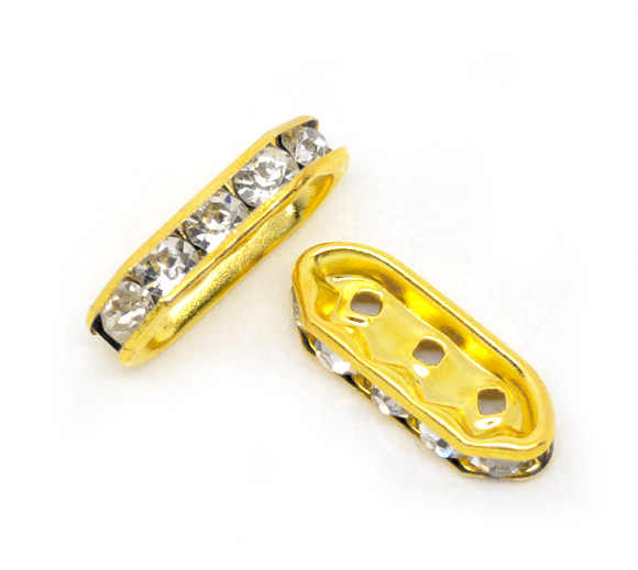 Copper + Rhinestone Spacer Beads Rectangle Gold Color White Rhinestone About 18mmx7mm,Hole:Approx 1.2mm,3 PCs new