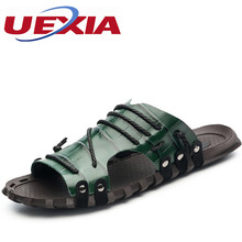 Handmade Leather Slippers Summer Fashion Beach Flats Flip Flops Slides Casual Skidproof Shoes For Men Big Size47 Wear Resistance