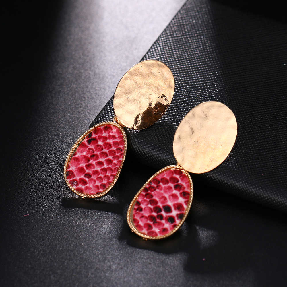 Wedding Party Oversize Geometric Drop Earrings for Women Punk Vintage Big Statement Earrings Snake Skin Party Jewelry Oorbellen