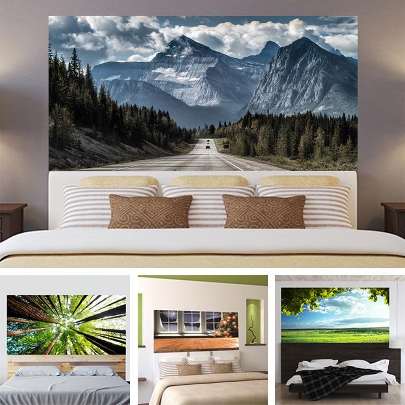 3d baum wiese blauen himmel spitze kopfteil aufkleber schlafzimmer wohnzimmer wand dekoration. Black Bedroom Furniture Sets. Home Design Ideas